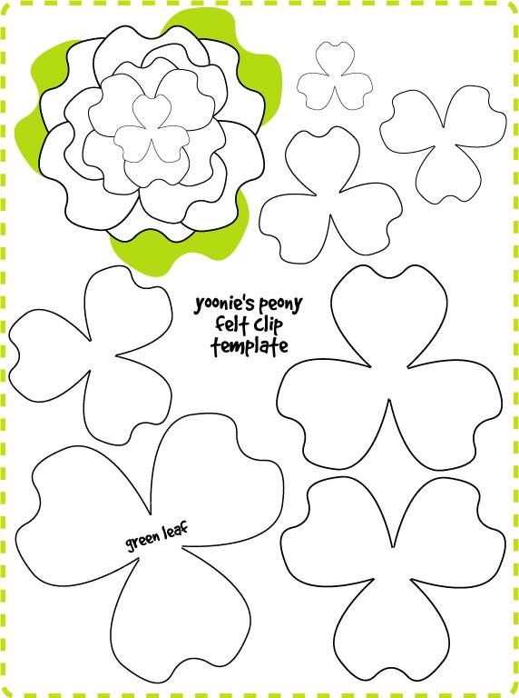 Patrón o plantilla para hacer broche o adorno fieltro forma flor poenía
