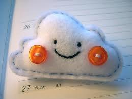 Broche de fieltro con forma de nube graciosa, estilo japonés Kawaii