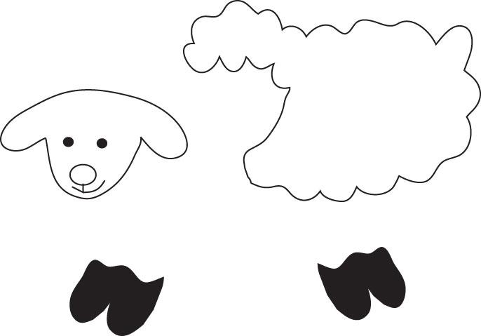 Patrón o plantilla para manualidad en fieltro con forma de oveja