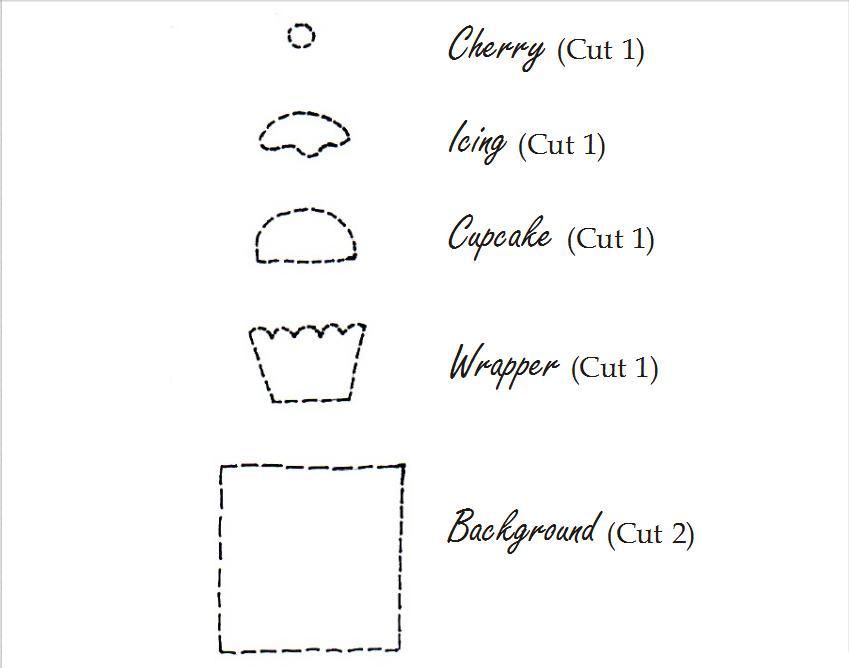 Paterón o plantilla para hacer un brrche o manualidad de fieltro original con forma de cupcake
