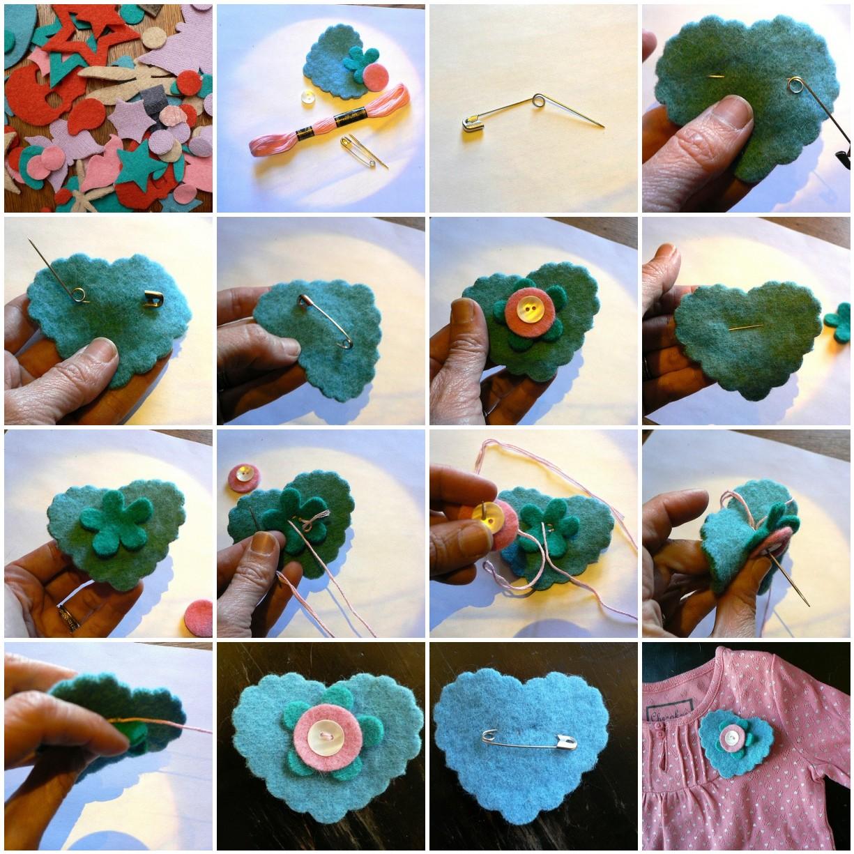 Tutorial para hacer un broche de fieltro con forma de corazón y botones paso a paso