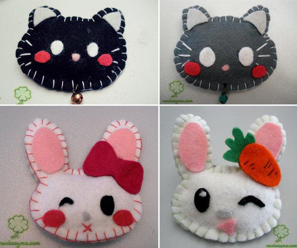 Broches de fieltro con forma de gatos y conejos