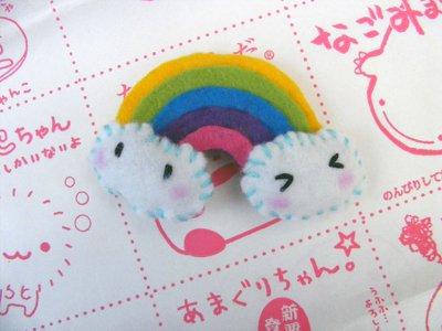 Broche de fieltro de nube y arcoiris estilo japonés Kawaii