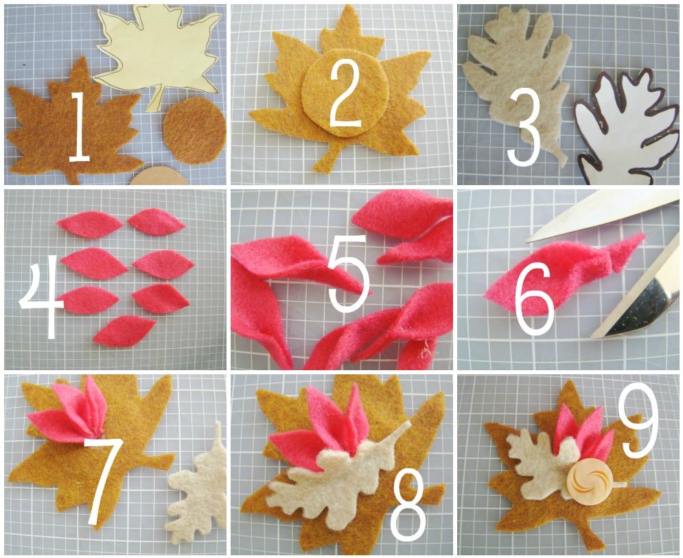 Tutorial paso a paso para hacer broche de fieltro inspirado en el otoño
