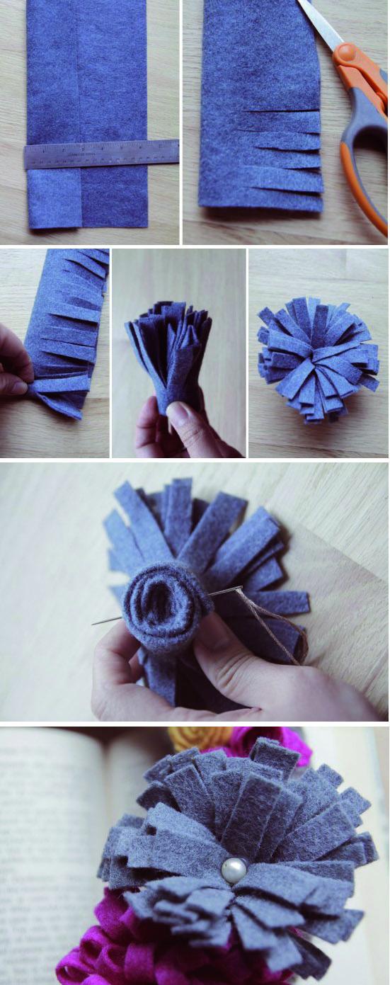 Tutorial paso a paso con fotos para saber como hacer broche con flor de fieltro