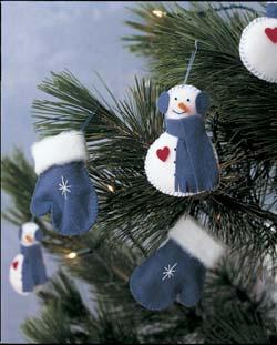 Adornos de fieltro para el árbol de navidad, muñeco de nieve y guantes