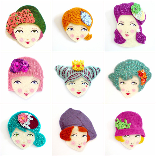 Broches de fieltro vintage originales de mujeres con look retro