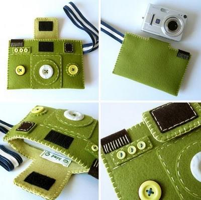 Funda fieltro cámara vintage