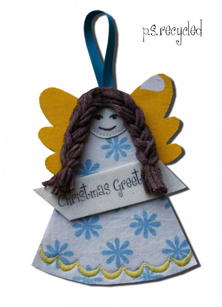 Manualidad de ángel en fieltro o tela para adorno de Navidad