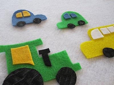 Tractor y coches de fieltro para hacer con niños