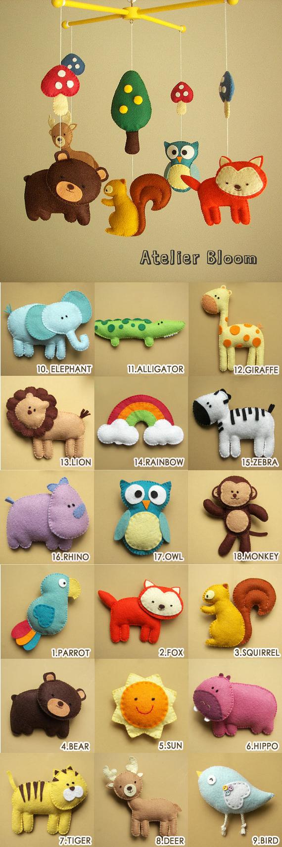 Móvil para decorar la habitación o cuna de un bebé con animales de fieltro