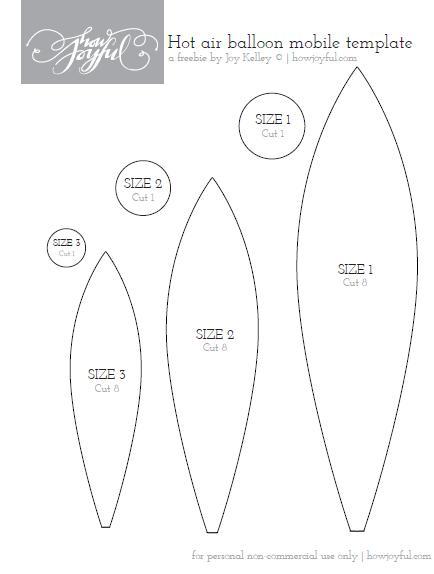 Molde o plantilla para hacer un móvil de fieltro con forma de globo aerostático