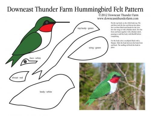 Patrón o Molde para hacer un pájaro colibrí como broche de fieltro