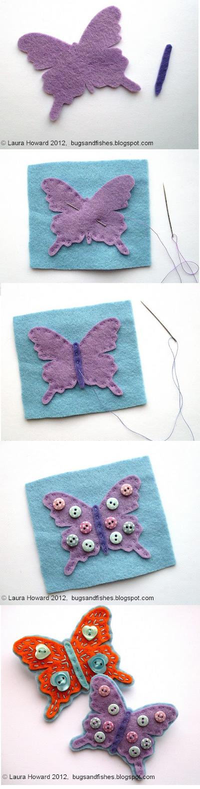 Tutorial para aprender a hacer paso a paso un broche de fieltro con forma de mariposa