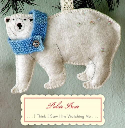 Oso Polar de fieltro como adorno para árbol de Navidad
