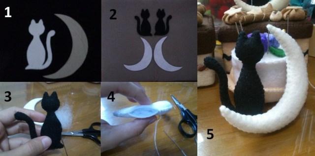 Peluche de gato con luna de fieltro, tutorial paso a paso