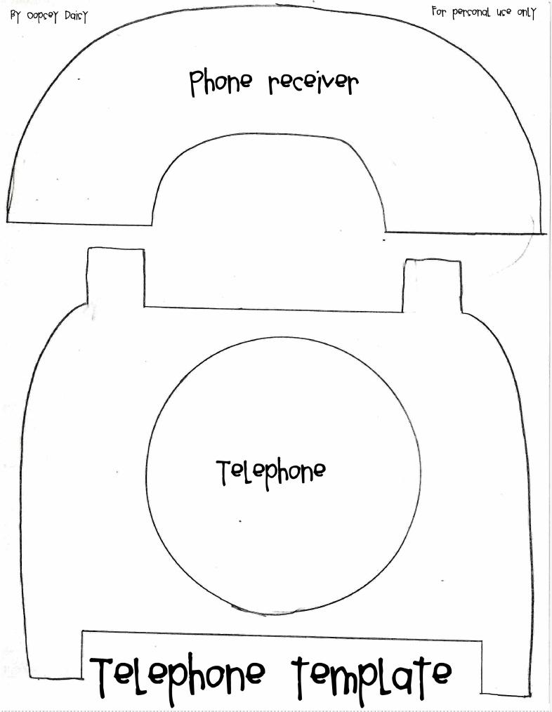 Pantilla, Molde o patrón para hacer una manualidad en fieltro, papel o tela de un teléfono antiguo