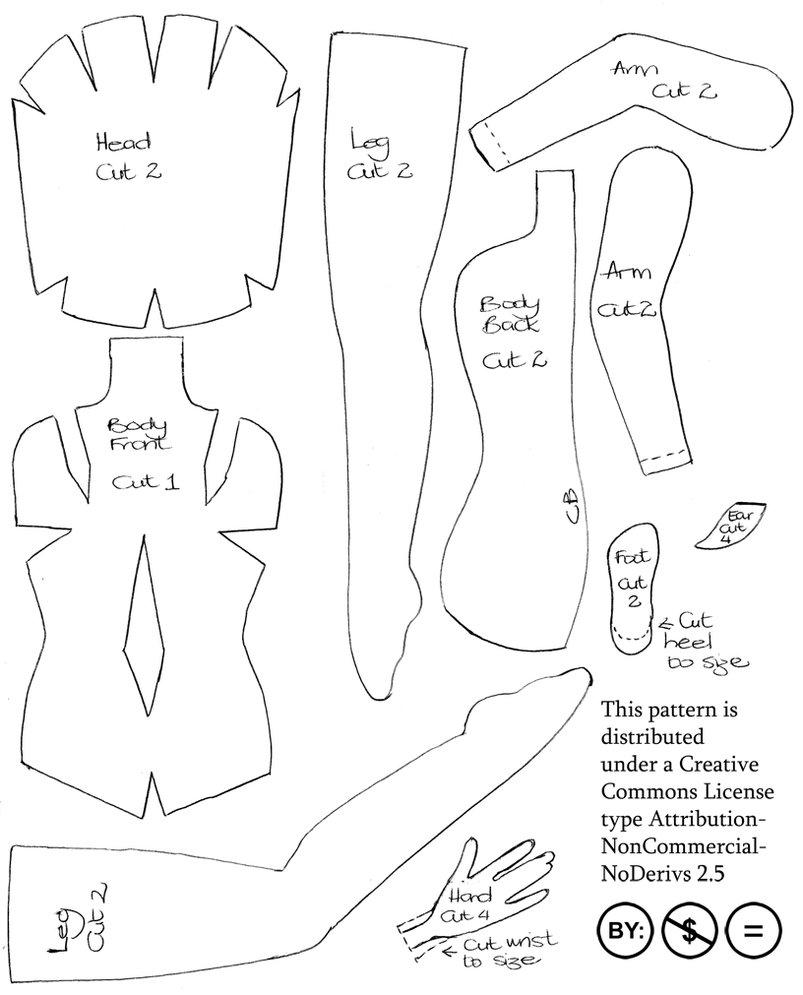 Plantilla o Molde para hacer una muñeca hada en fieltro