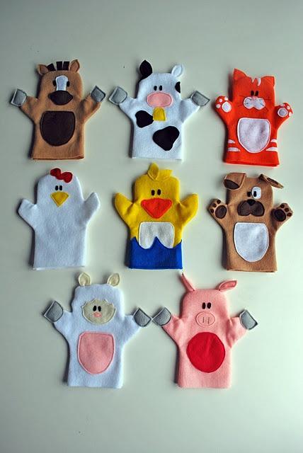 Marionetas de mano en fieltro para niños