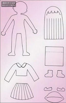 Patrón y plantilla para hacer una muñeca de fieltro, niña con uniforme japones del colegio
