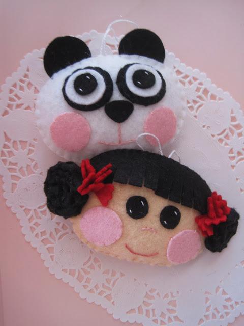 Broche de fieltro de panda y niña para Año nuevo Chino