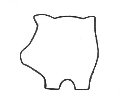Plantilla o patrón cerdo fieltro