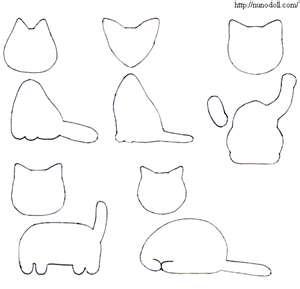 Molde o Plantilla con forma de distintos gatos para manualidades de fieltro
