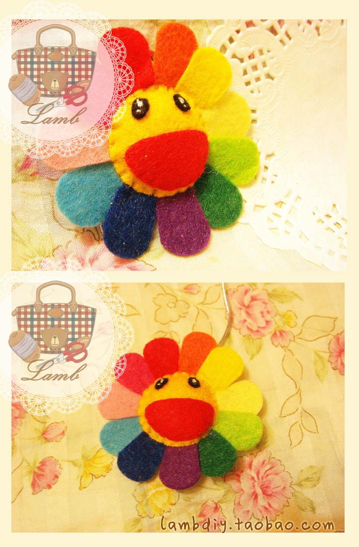 Broche de fieltro, girasol de colorines