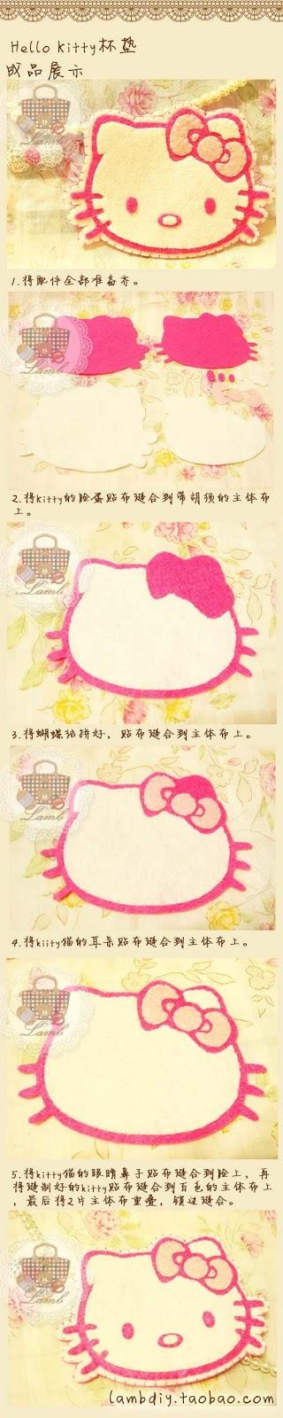 Tutorial paso a paso, boche de fieltro Hello Kitty