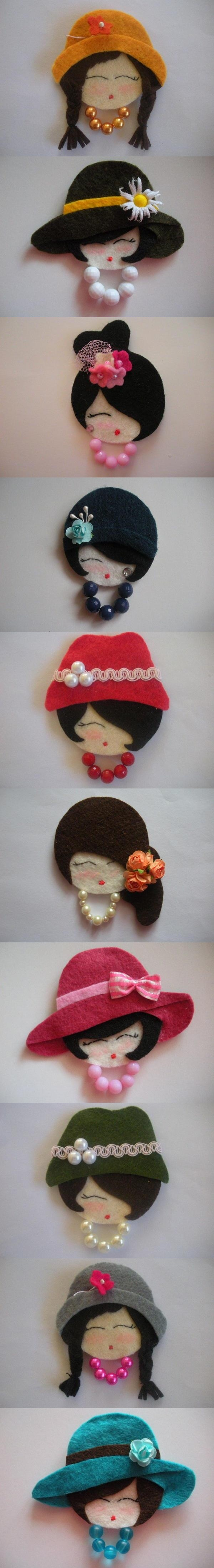 Manualidades en fieltro on pinterest manualidades - Broches de fieltro munecas ...