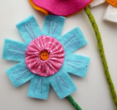 Tutorial ramo de flores de fieltro, paso a paso, 5