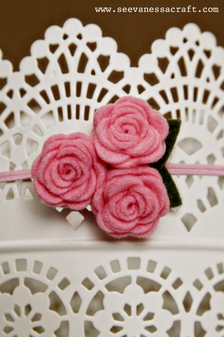 Diademas con rosas de fieltro para bebés neonatos