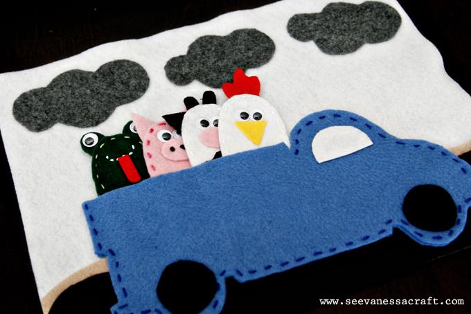 Marioneta dedo fieltro animales granja, cerdo, gallina, vaca