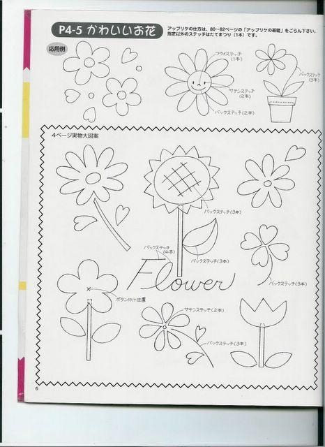 Molde o plantilla para hacer siete modelos de flores de fieltro