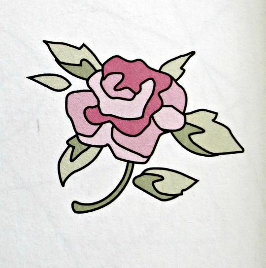 Plantilla para bordar una rosa a mano en fieltro o tela