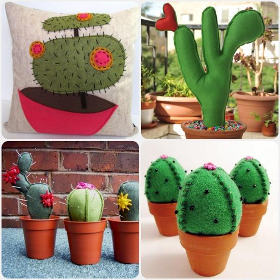Manualidades originales de fieltro, cactus