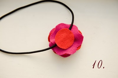 Tutorial diadema flor fieltro, paso a paso 10