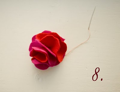 Tutorial diadema flor fieltro, paso a paso 8