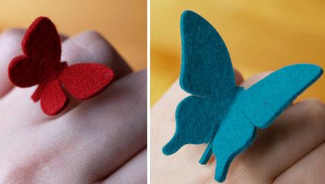 Bisutería creativo, anillo de fieltro con forma de mariposa