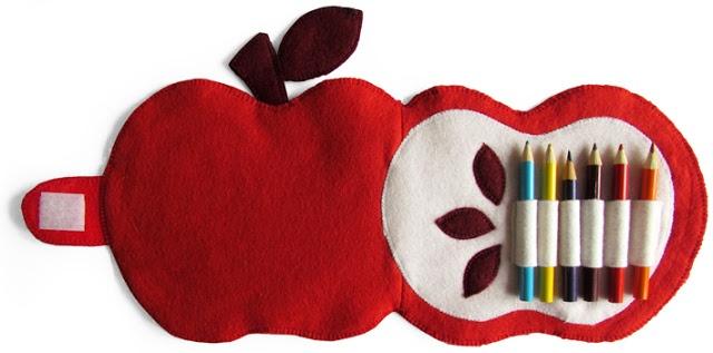 Manualidades en fieltro, estuche con forma de manzana