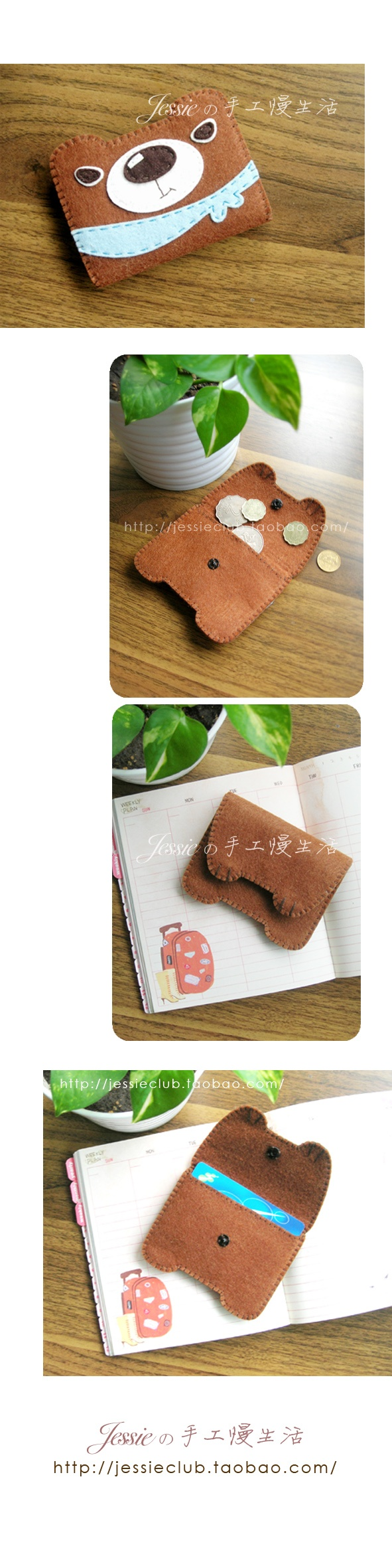 Monedero de fieltro con forma de oso estilo kawaii
