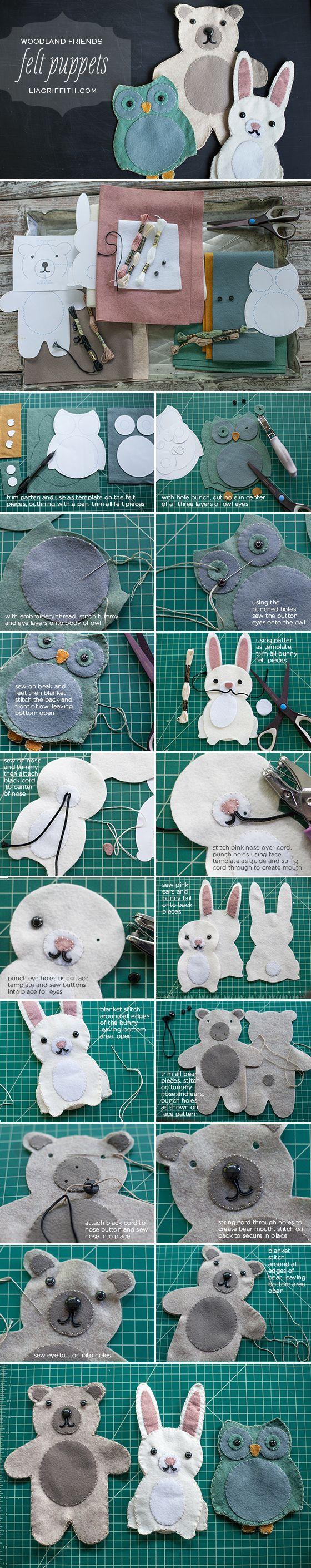 Tutorial paso a paso, marionetas de fieltro: conejo, oso y búho