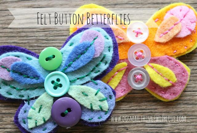 Broche de fieltro con forma de mariposa y botones