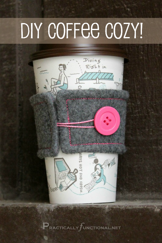 Funda de fieltro para no quemarse con la taza del café