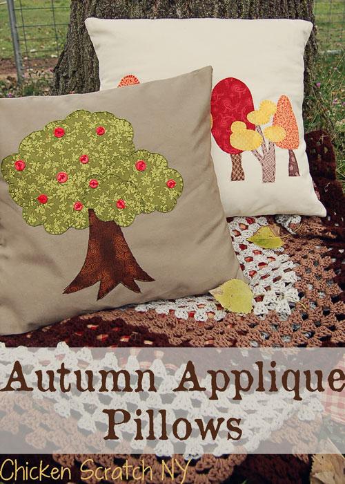 Apliques de otoño en fieltro y tela para decorar cojines y almohadones