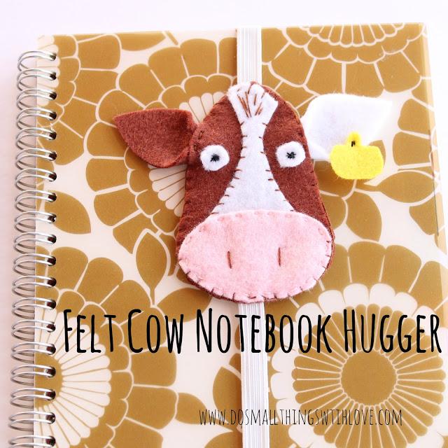 Manualidades de fieltro, marcador de libreta con forma de vaca