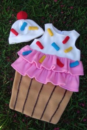 Disfraz original hecho fieltro para niñas, cupcake