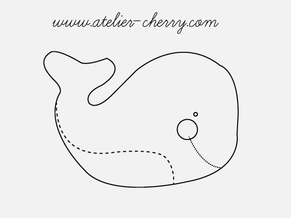 Descargar gratis patrón o molde ballena de fieltro