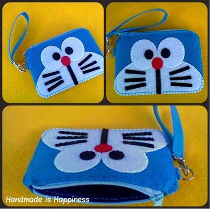 Manualidades de fieltro, monedero de Doraemon