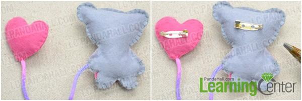 Tutorial aprender broche fieltro oso y y globo corazón 7